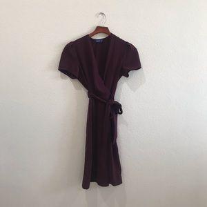 Burgundy maroon midi wrap dress size 8